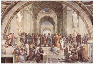 Raphael (Stanza della Segnatura in the Vatican for Pope Julius II, wall fresco: The School of Athen Photo