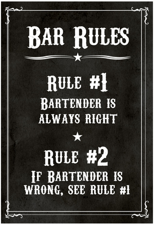 Bar Rules The Bartender is Always Right Sign Art Print Poster Posters