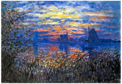 Claude Monet Sunset on the Seine Art Print Poster Prints