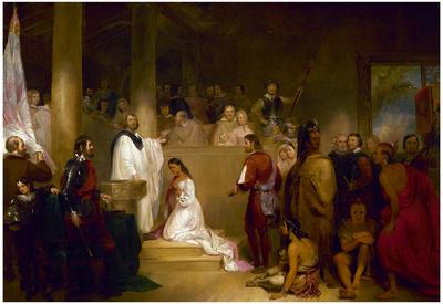 Baptism of Pocahontas Historic Art Print Poster Posters
