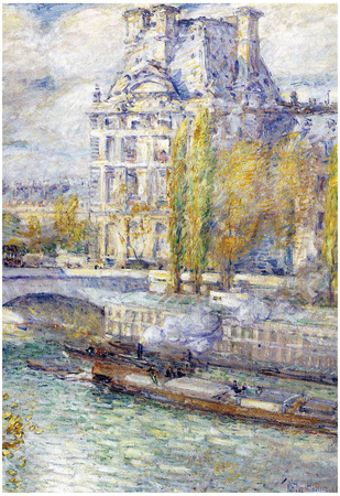 Childe Hassam The Louvre on Pont Royal Art Print Poster Photo