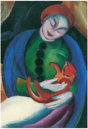 Franz Marc Girl with a Cat II Art Print Poster Print