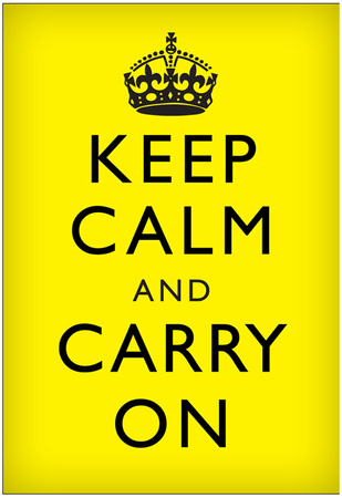 Keep Calm and Carry On (Motivational, Yellow, Black Text) Art Poster Print Posters