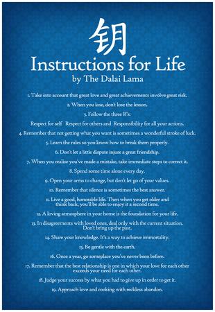 Dalai Lama Instructions For Life Blue Motivational Poster Art Print Póster