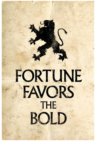 Fortune favors the bold motivational words with lion silhouette icon