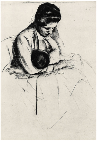 Mary Cassatt Mother Nurses Child Art Sketch Poster Posters