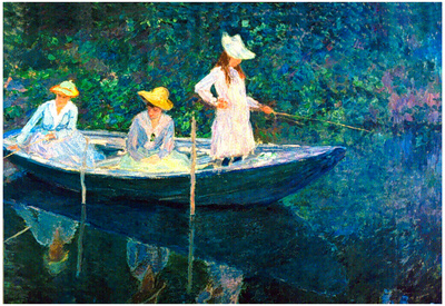 Claude Monet Women Fishing Art Print Poster Prints