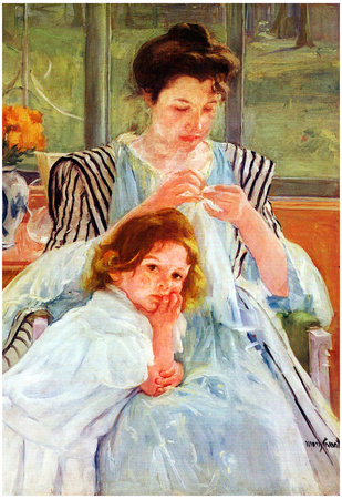 Mary Cassatt Young Mother Sewing Art Print Poster Print