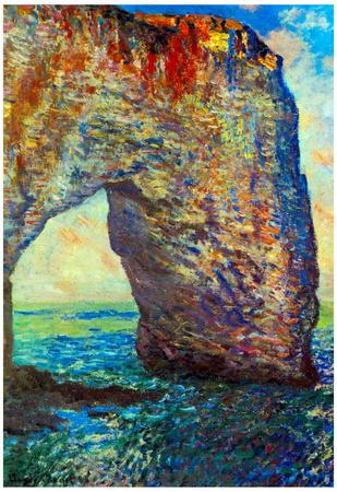 Claude Monet The Rocky Cliffs of Etretat La Porte Man 2 Art Print Poster Prints