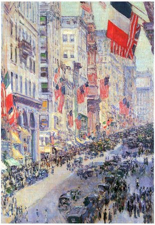 Childe Hassam The Avenue Along 34th Street May 1917 Art Print Poster Prints