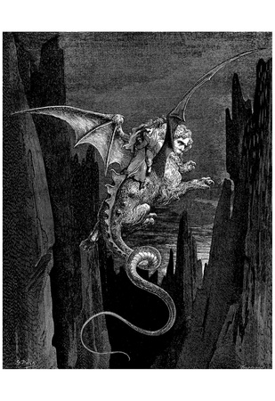 """Gustave Doré (Illustration to Dante's """"Divine Comedy,"""" Inferno - Flying Beast) Art Poster Print Posters"""