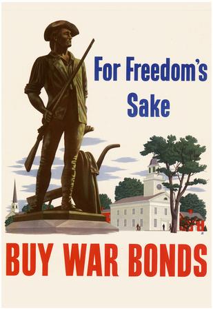 For Freedom's Sake Buy War Bonds WWII War Propaganda Art Print Poster Posters