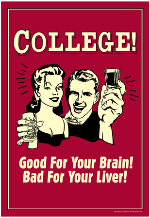 College Good For Your Brain Bad for Liver Funny Retro Poster Poster