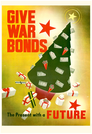Give War Bonds The Present with a Future WWII War Propaganda Art Print Poster Prints!
