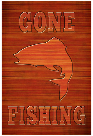 Gone Fishing Sign Art Poster Print Posters