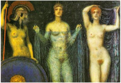 Franz von Stuck The Three Goddesses Athena Hera and Aphrodite Art Print Poster Posters
