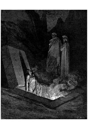"Gustave Doré (Illustration to Dante's ""Divine Comedy,"" Inferno - The Heretics) Art Poster Print Prints"