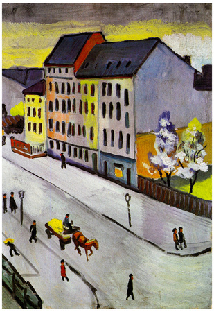 August Macke Street in Gray Art Print Poster Posters