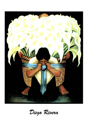 Lady W/ Basket of Lillies Diego Rivera ART PRINT POSTER Posters