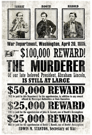 John Wilkes Booth Replica Wanted Poster Print