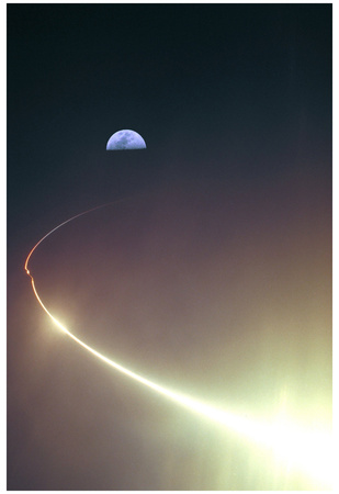 NASA Lunar Prospector (Launch Towards Moon) Art Poster Print Poster