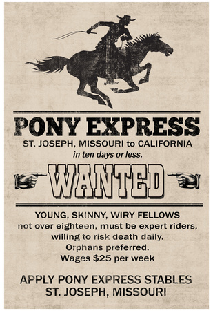 Pony Express Replica Recruitment Advertisement Print Poster Posters