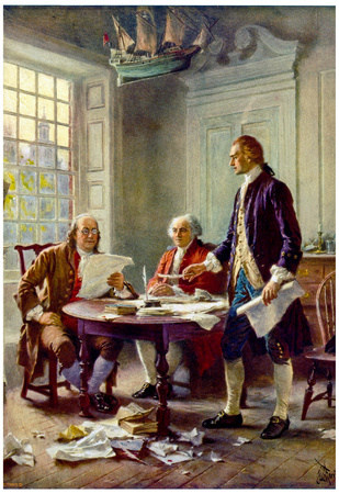 Writing the Declaration of Independence Historical Art Print Poster Prints