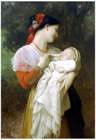 William-Adolphe Bouguereau Maternal Admiration Art Print Poster Prints