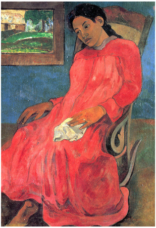 Paul Gauguin (Woman in red dress) Art Poster Print Poster