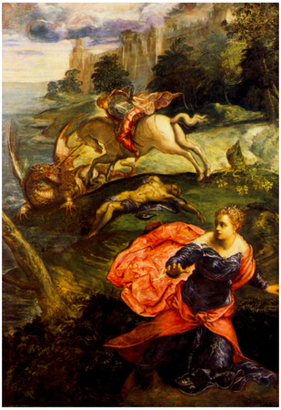 Tintoretto St George and the Dragon Art Print Poster Posters