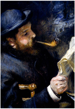 Pierre Autuste Renoir Claude Monet Reading a Newspaper Art Print Poster Posters