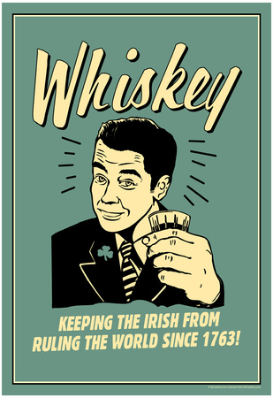 Whiskey Keeping Irish From Running World Since 1763 Funny Retro Poster Poster