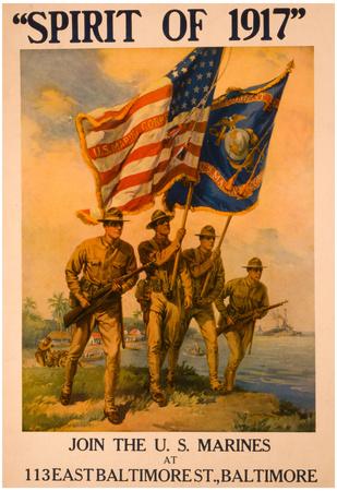 Spirit of 1917 Join US Marines War Vintage Ad Poster Print Prints