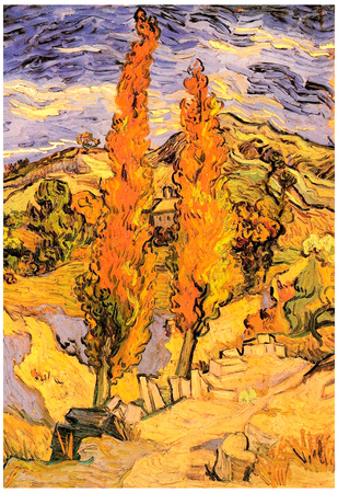 Vincent Van Gogh Two Poplars on a Road Through the Hills Art Print Poster Prints