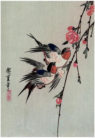 Utagawa Hiroshige Gekka Momo ni Tsubakura Moon Swallows and Peach Blossoms Art Print Poster Print