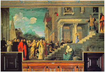 Titian Entry of Maria in the Temple Art Print Poster Poster