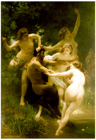 William-Adolphe Bouguereau Nymphs and Satyr Art Print Poster Print
