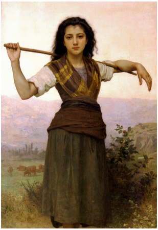 William-Adolphe Bouguereau The Shepherdess Art Print Poster Prints