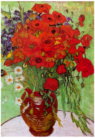 Vincent Van Gogh Still Life Red Poppies and Daisies Art Print Poster Pôster