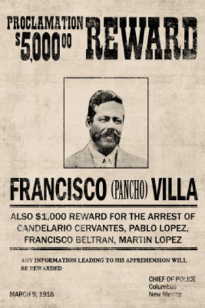 Pancho Villa Wanted Advertisement Print Poster Lámina maestra