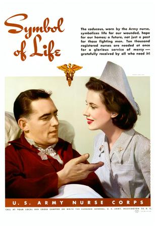 Symbol of Life U.S. Army Nurse Corps WWII War Propaganda Art Print Poster Posters
