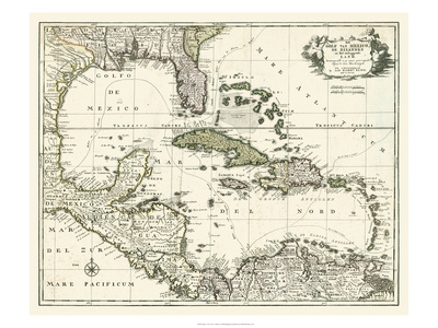 Map of the Gulf of Mexico Prints
