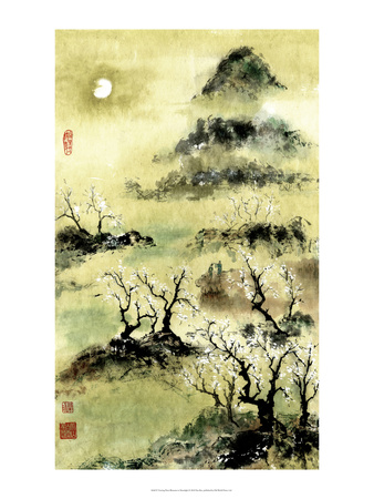 Viewing Plum Blossoms in Moonlight Plakater af Nan Rae