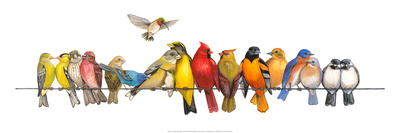 Large Bird Menagerie Prints by Wendy Russell
