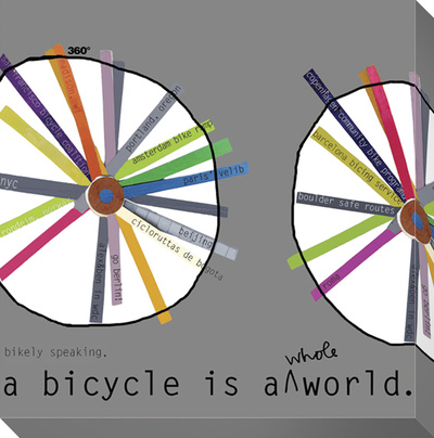 A Bicycle is a World Stretched Canvas Print by  KOCO