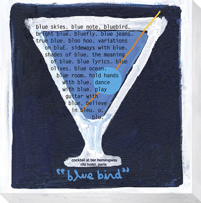 Bluebird Cocktail Stretched Canvas Print by  KOCO