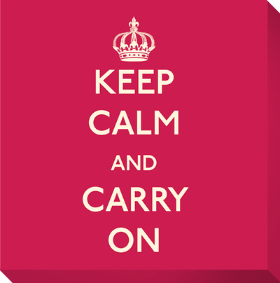Keep Calm and Carry On (Red) Reproduction transférée sur toile