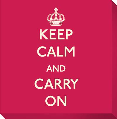 Keep Calm and Carry On (Red) Lærredstryk på blindramme