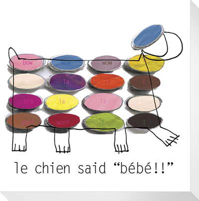 Le Chien Stretched Canvas Print by  KOCO