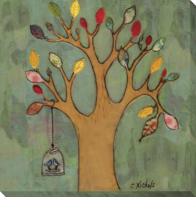 Birdcage on Tree Stretched Canvas Print by  KOCO